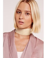 Missguided - Thick Velvet Choker Necklace Cream - Lyst