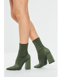 Missguided - Khaki Pointed Flared Heel Ankle Boots - Lyst