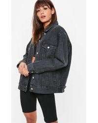 Missguided - Black Washed Oversized Denim Jacket - Lyst