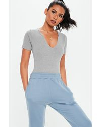 35da93a413 Lyst - Missguided Gray Scoop Neck Ribbed High Leg Knitted Bodysuit ...