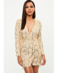 Missguided - Gold Fringe Sequin Plunge Bodycon Dress - Lyst