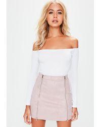 f4f1f45ea0 Missguided - Petite Mauve Faux Suede Double Zip Mini Skirt - Lyst