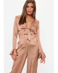 Missguided - Bronze Flare Sleeve Tie Front Satin Top - Lyst