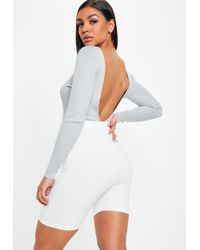 Missguided - Gray V Plunge Back Ribbed Knitted Bodysuit - Lyst