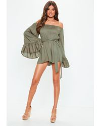 9fe6bd209cc Lyst - Missguided Khaki Tie Back Pleated Shoulder Romper in Green