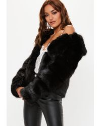 Missguided - Black Premium Cropped Faux Fur Jacket - Lyst