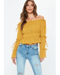 Missguided - Mustard Crinkle Bardot Blouse - Lyst