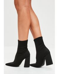 Missguided   Black Flared Heel Sock Boots   Lyst
