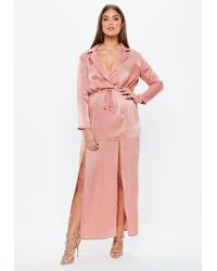 Missguided - Curve Pink Hammer Satin Maxi Dress - Lyst