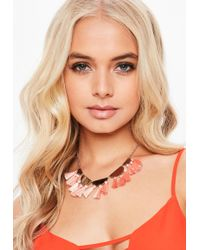 Missguided - Silver Look Necklace With Peach Fabric Tassels - Lyst