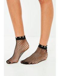 Missguided - Black Pearl Trim Socks - Lyst