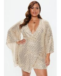 Missguided - Plus Size Gold Sequin Wrap Mini Dress - Lyst