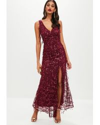 Missguided - Wine Maxi Sequin Drop Dress - Lyst