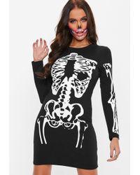 Missguided - Black Skeleton Long Sleeve Dress - Lyst