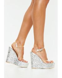 Missguided - Silver Metallic Clear Strap Espadrille Wedge Sandals - Lyst