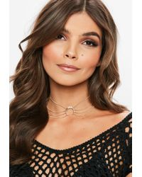 Missguided - Gold Diamante Horn Chain Choker Necklace - Lyst