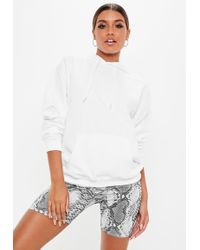 Missguided - White Jersey Hoodie - Lyst