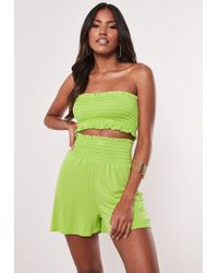 Missguided - Lime Ruched Bandeau And Short Co Ord Set - Lyst