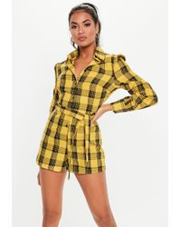 2fb53714dbc Lyst - Missguided Yellow Tie Back Pleated Shoulder Playsuit in Yellow