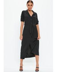 Missguided - Black Long Sleeve Utility Midi Shirt Dress - Lyst