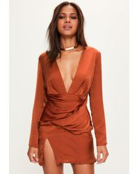 Missguided - Orange Silky Long Sleeve Panelled Shift Dress - Lyst