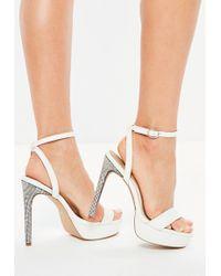 Missguided - White Diamante Platform Heeled Sandals - Lyst