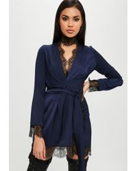 Missguided - Carli Bybel X Navy Satin Lace Wrap Dress - Lyst