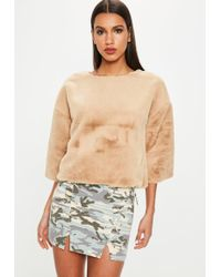 Missguided - Camel Raw Edge Fur Jumper - Lyst
