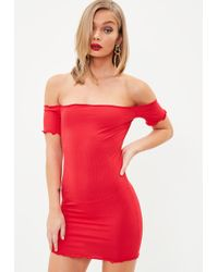 e6f3fa1bfa24 Missguided Bardot Bodycon Jersey Dress Red in Red - Lyst