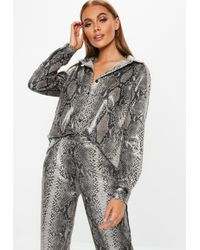 Missguided - Grey Faux Leather Snake Skin Shirt - Lyst