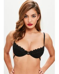 Missguided - Black Scallop Lace Underwired Bra - Lyst