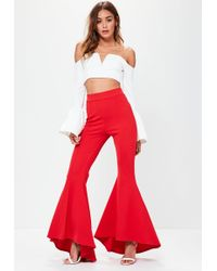 Missguided - Red Asymmetric Extreme Draped Cigarette Trousers - Lyst