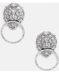 Missguided - Silver Lion Earrings - Lyst
