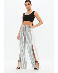Missguided - Silver Metallic Side Stripe Wide Leg Joggers - Lyst