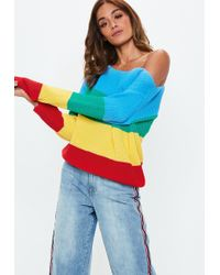 Missguided - Blue Rainbow Colour Block Off Shoulder Jumper - Lyst