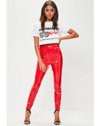 Missguided - Red Ankle Grazer Vinyl Skinny Trousers - Lyst