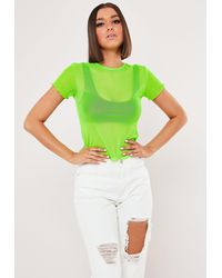 Missguided Lime Mesh Lettuce Hem T Shirt - Green