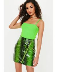 407d5f2a228fb3 Missguided - Tall Neon Green Strappy Straight Neck Bodysuit - Lyst