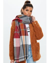 Missguided - Gray Checked Scarf - Lyst