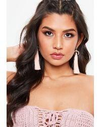 Missguided - Pink Diamante Horn Tassel Earrings - Lyst