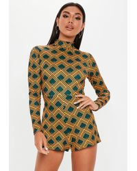 0cd7dcfdaf Missguided - Petite Yellow High Neck Tile Print Playsuit - Lyst