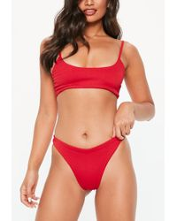 f7e24d2178a1d Lyst - Missguided Red High Leg Bikini Brief Bottoms in Red