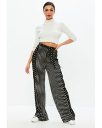 Missguided - Black Mixed Print Wide Leg Trousers - Lyst