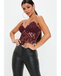 Missguided - Burgundy Corded Lace Harness Bodysuit - Lyst