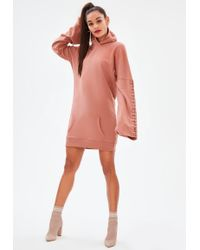 Missguided - Pink Eyelet Long Sleeve Hooded Jumper Dress - Lyst