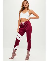 Missguided - Burgundy Stripe Detail Skinny Joggers - Lyst