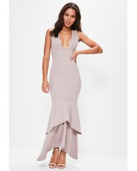 Missguided - Nude Crepe Plunge Fishtail Maxi Dress - Lyst