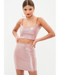 Missguided - Red Metallic Co Ord Set - Lyst
