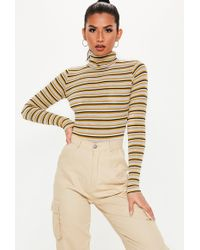 Lyst - Missguided Yellow Square Neck Long Sleeve Bodysuit in Yellow 5b89a2464