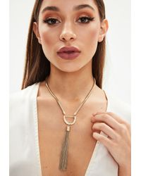 Missguided - Blue Denim Choker Necklace - Lyst